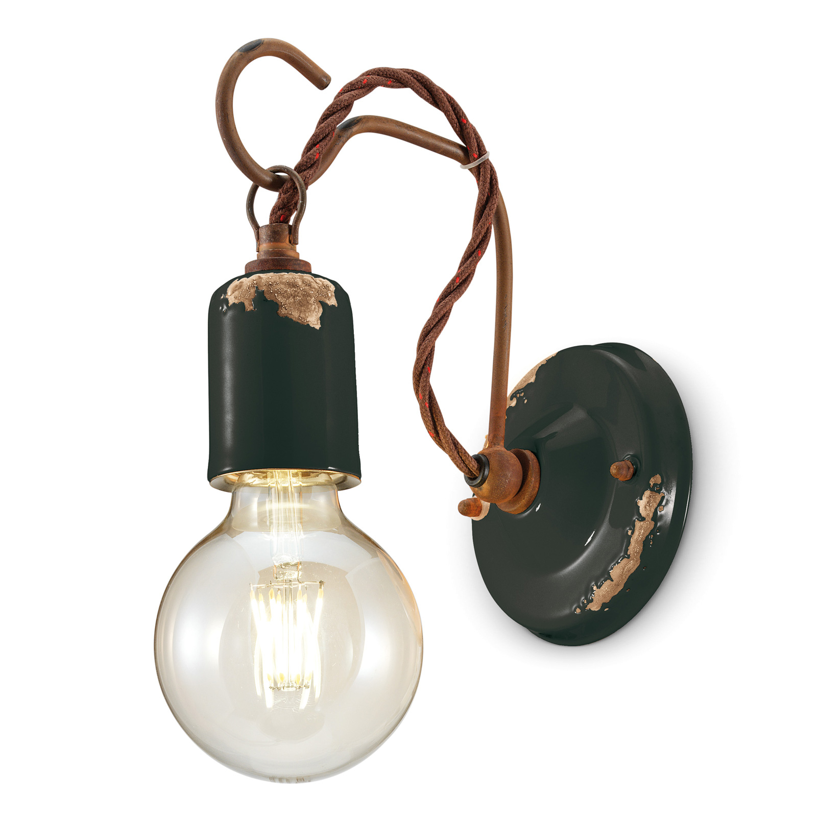 Wandlamp C665 in vintage-stijl zwart