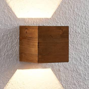 Lindby Benicio Wood LED-væglampe træ kantet, 11 cm