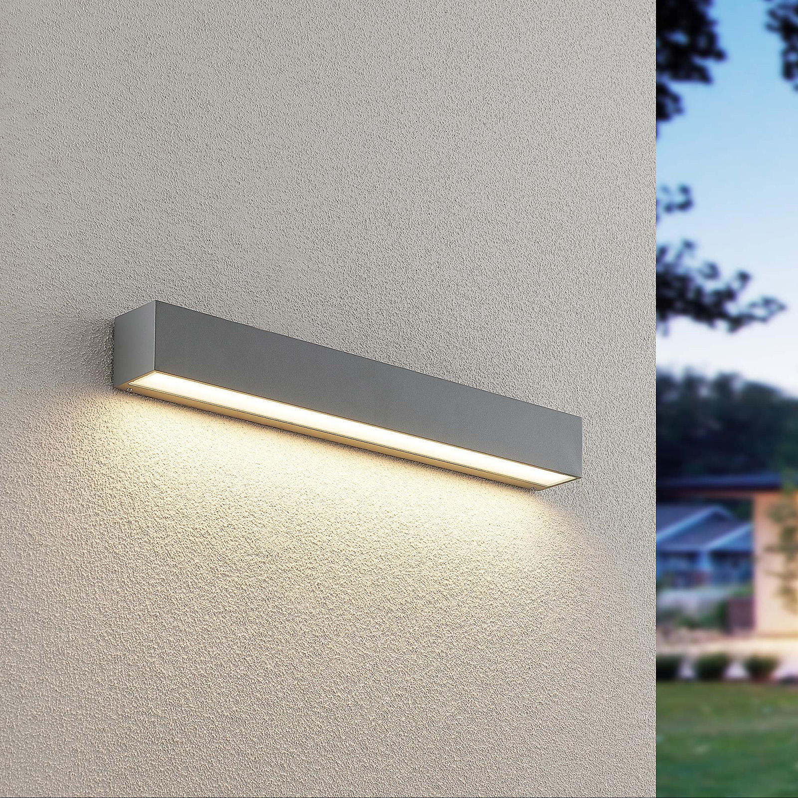 Lucande Lengo applique LED, Down argent 50 cm
