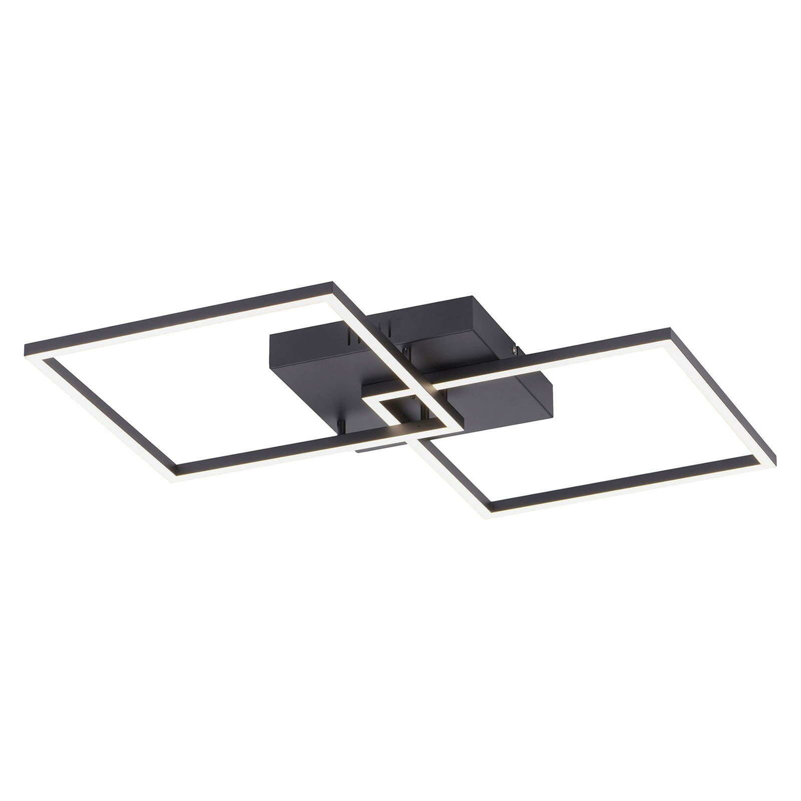 LED-Deckenleuchte Iven, schwarz 2-flammig Quadrat