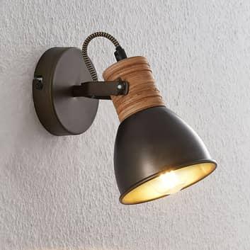 Lindby Arina væglampe med træ, 11 cm