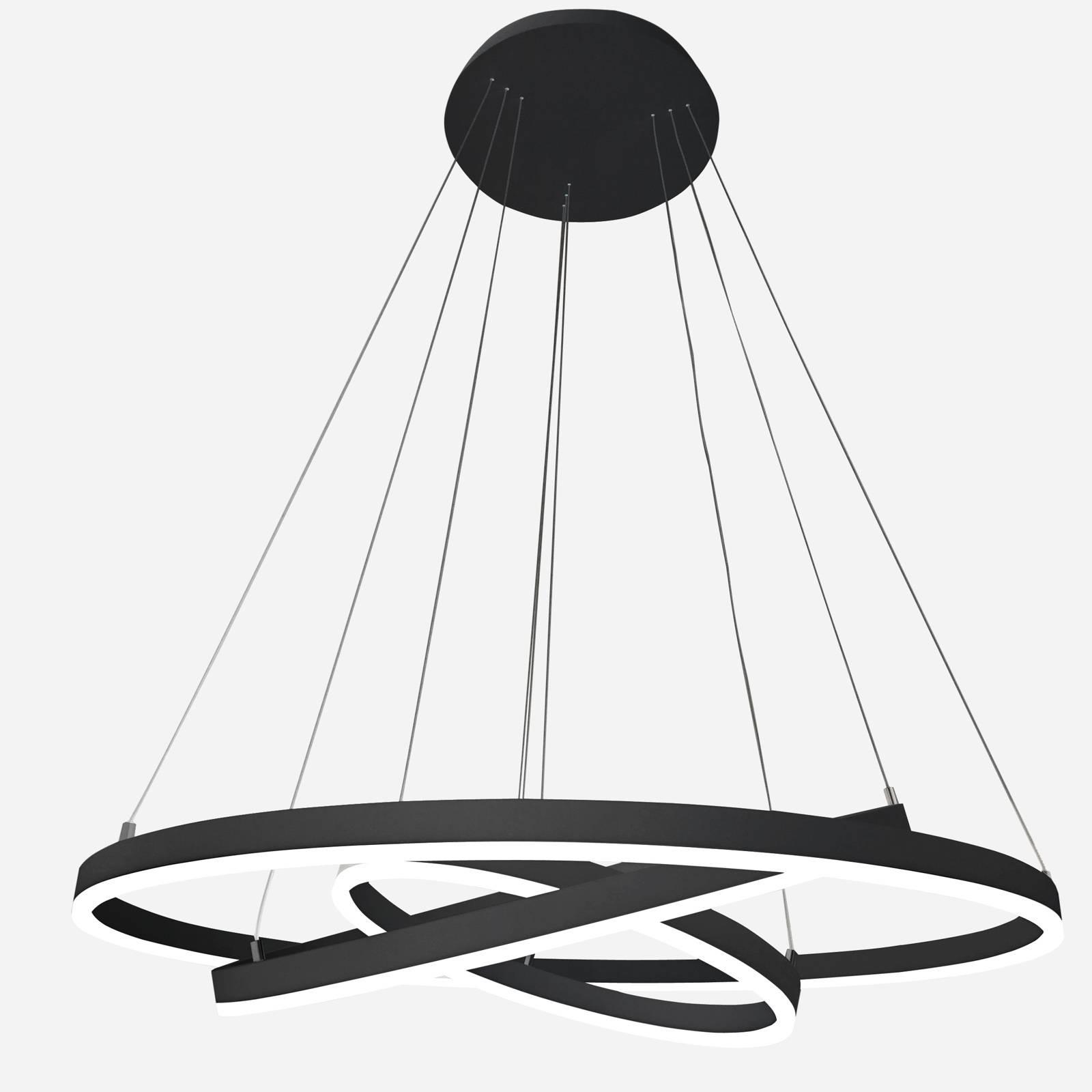 Arcchio Albiona suspension LED, noire, 3 anneaux
