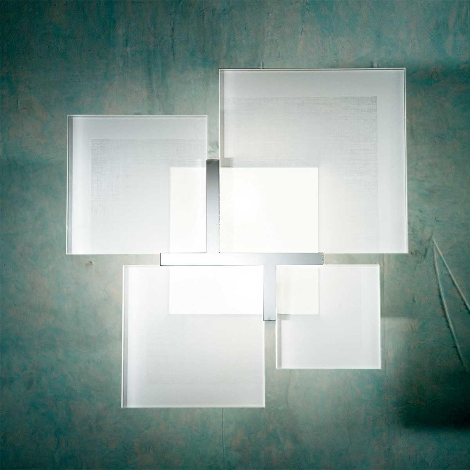 Imposante plafondlamp QUADRIFOGLIO 8050, zilver