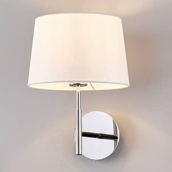 Lampa ścienna z białym, materiałowym abażurem
