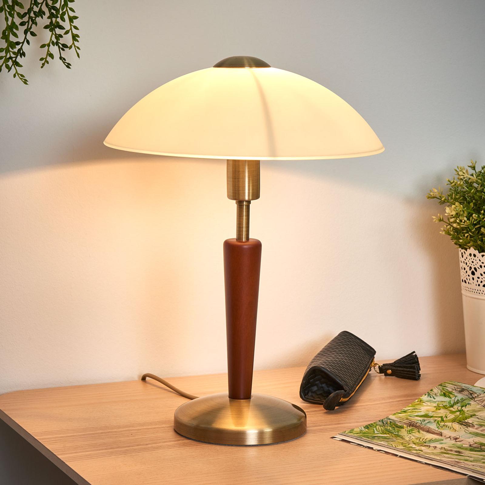 Hout-metaal-mix tafellamp Salut, gebruineerd, noot
