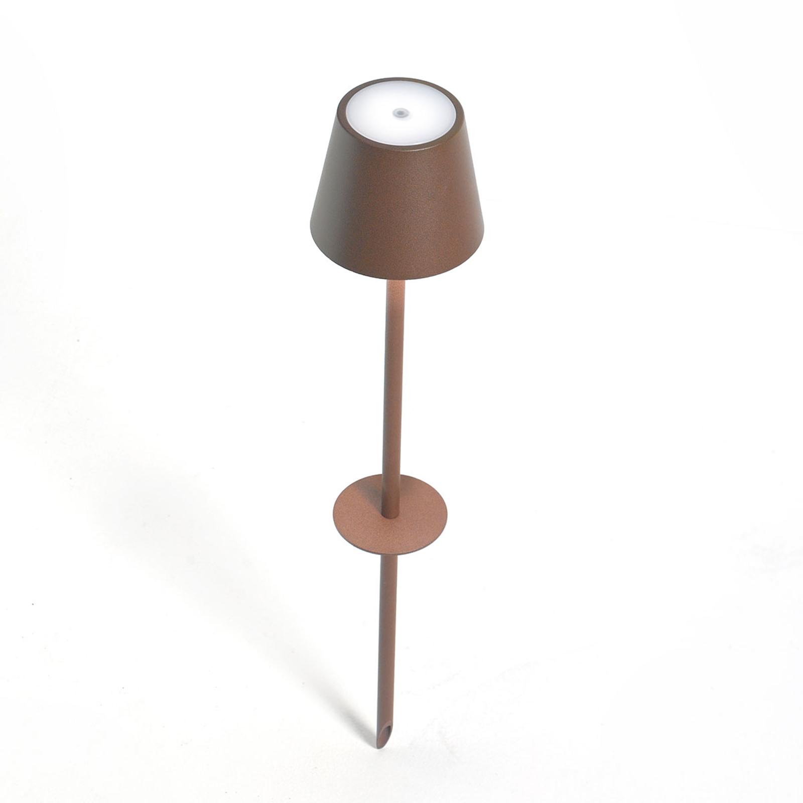 LED-Erdspießleuchte Poldina mit Akku, braun, 85 cm