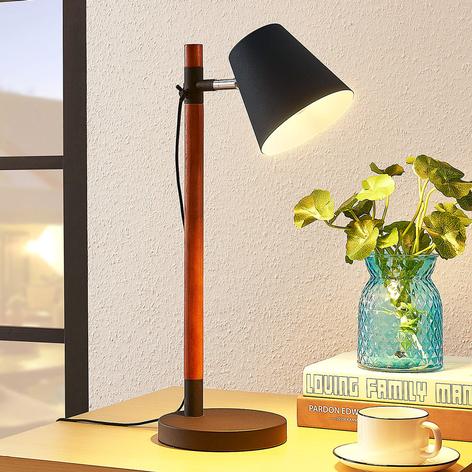 Stolní lampa Birte, černá s dřevěným prvkem