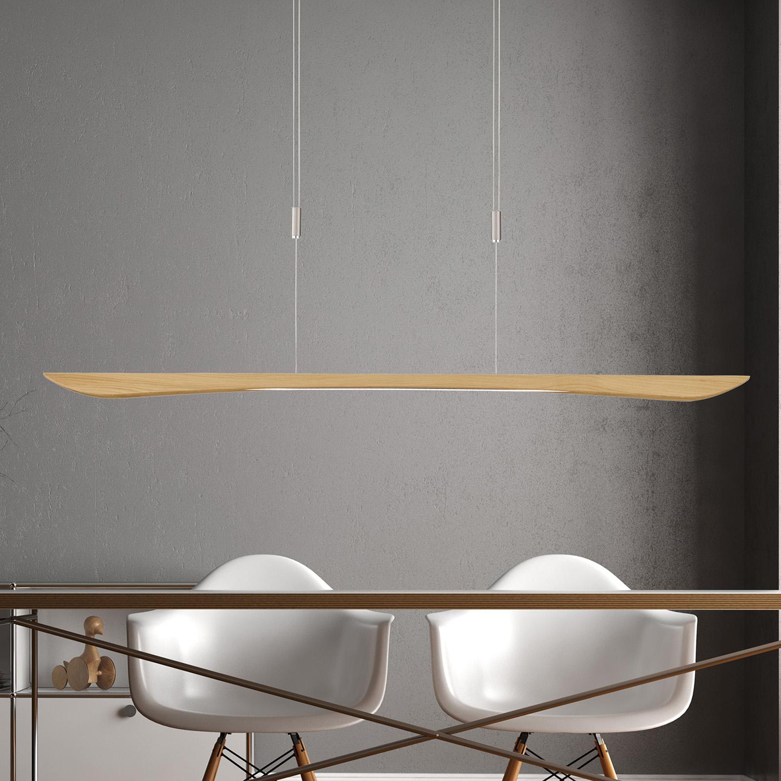 Lucande Hiba LED-pendellampe, natur eg, 148 cm