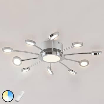 Forkrommet LED-taklampe Meru, variabel lysfarge