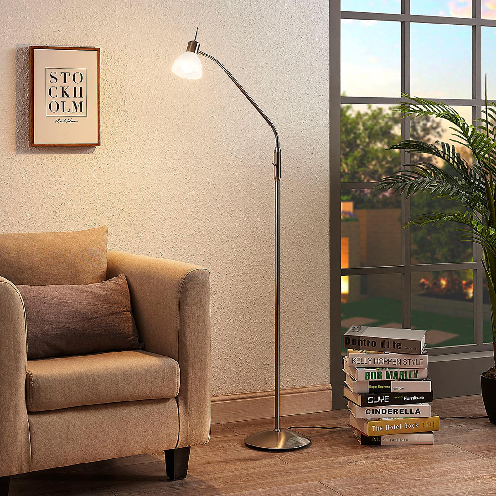 LED-Stehleuchte Gwendolin, nickelfarben, 1-flammig