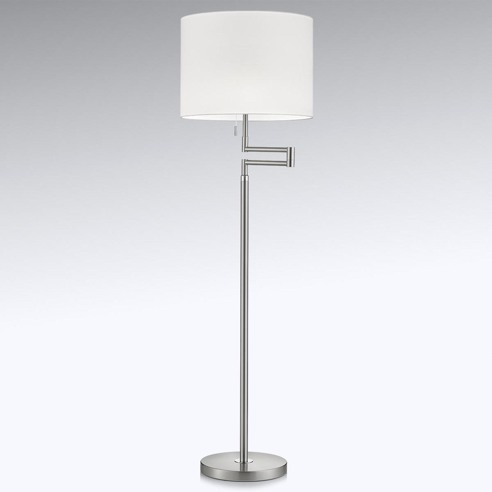 Lilian gulvlampe, LED-dæmper, mat nikkel/krom