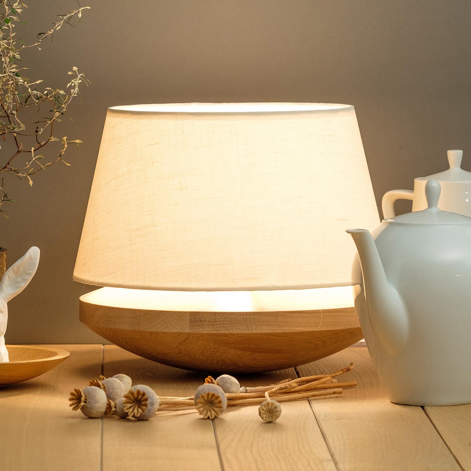 KJELL - lampa stołowa z lnianym abażurem, kremowa