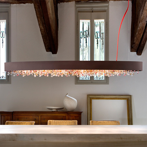 Ovale hanglamp Ola S4 OV100, brons