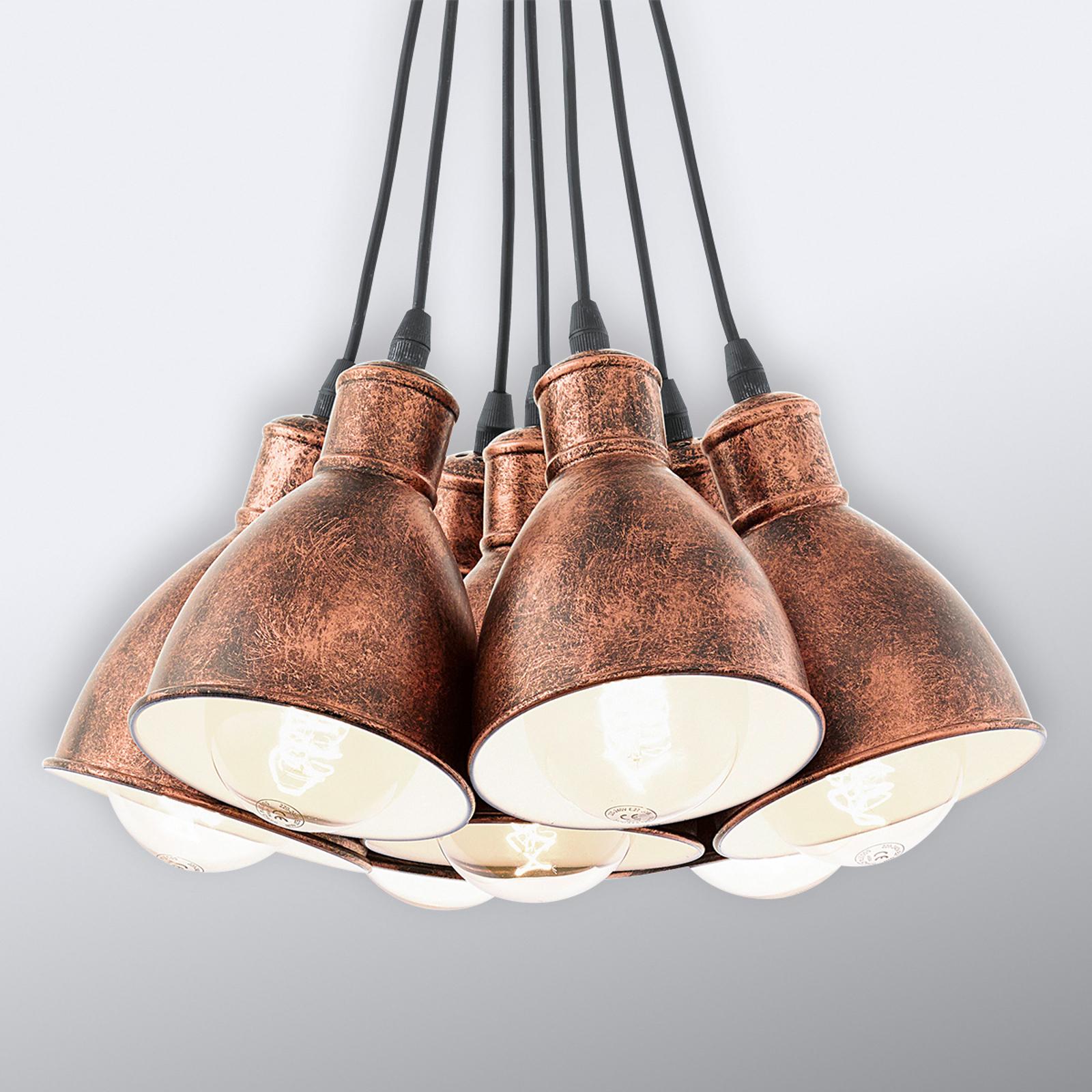 Priddy 1 hængelampe, 7 lyskilder, antik kobber
