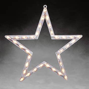 Kontur gwiazdy z LED, na okno, ciepła biel