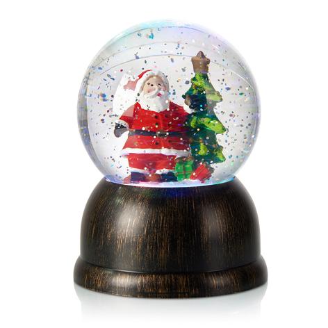 Bola de nieve LED Max con Papá Noel, bronce
