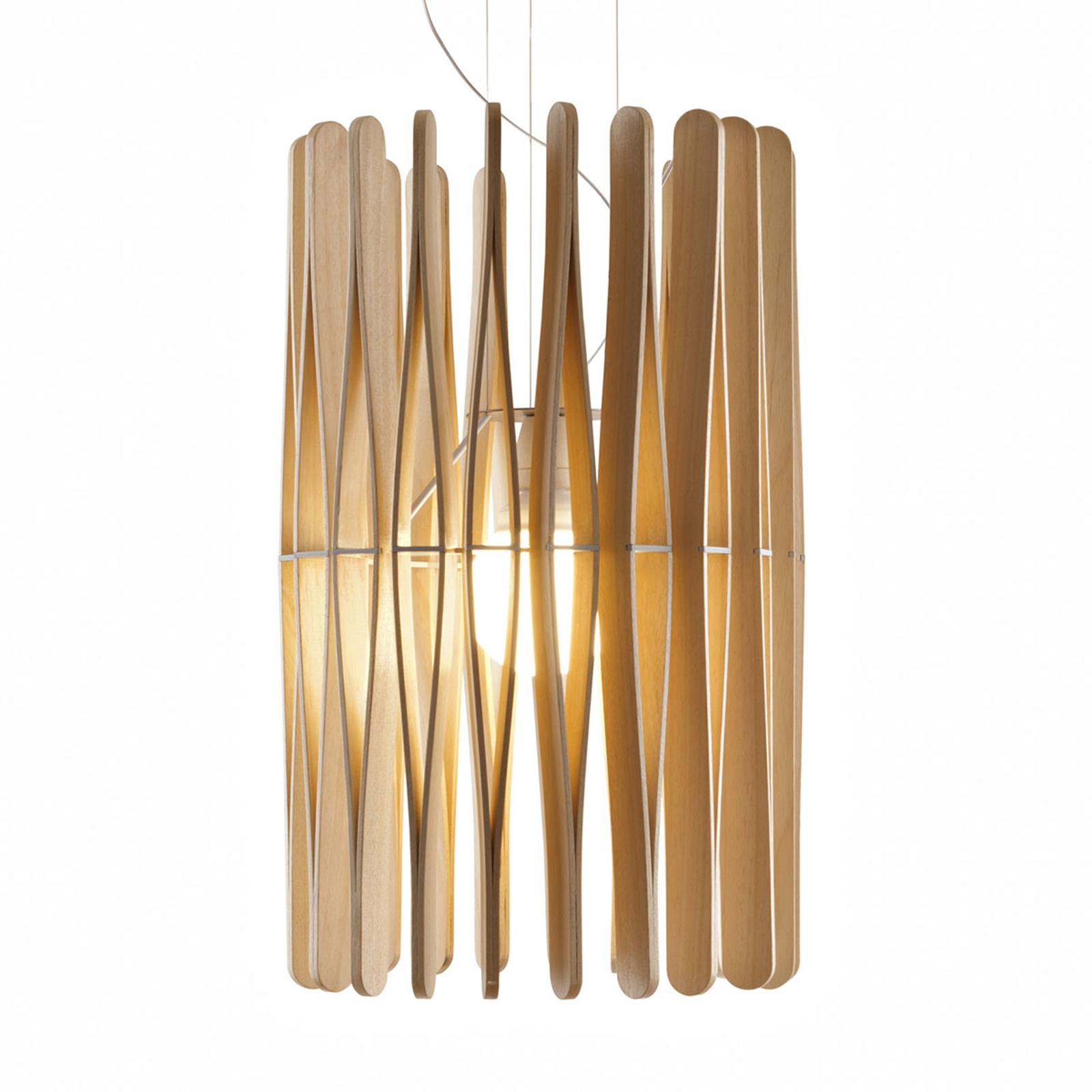 Fabbian Stick Holz-Hängeleuchte, zylindrisch, 43cm