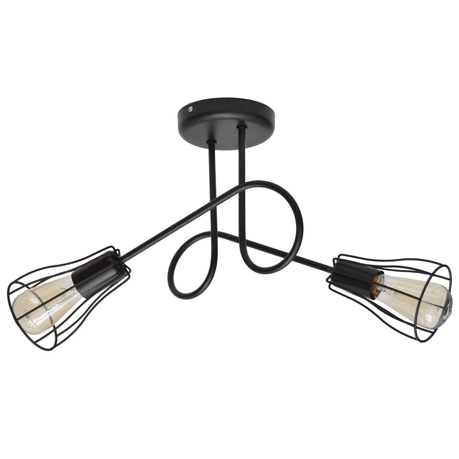 Plafonnier Oxford 2 lampes abat-jour cages noir