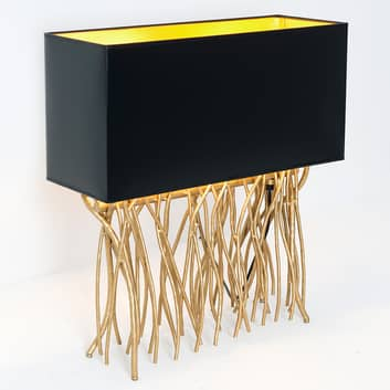 Bordslampa Capri, kantig, svart/guld