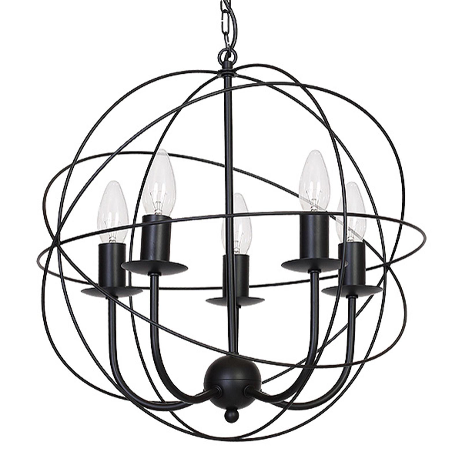Globe lysekrone, 5 lyskilder sort
