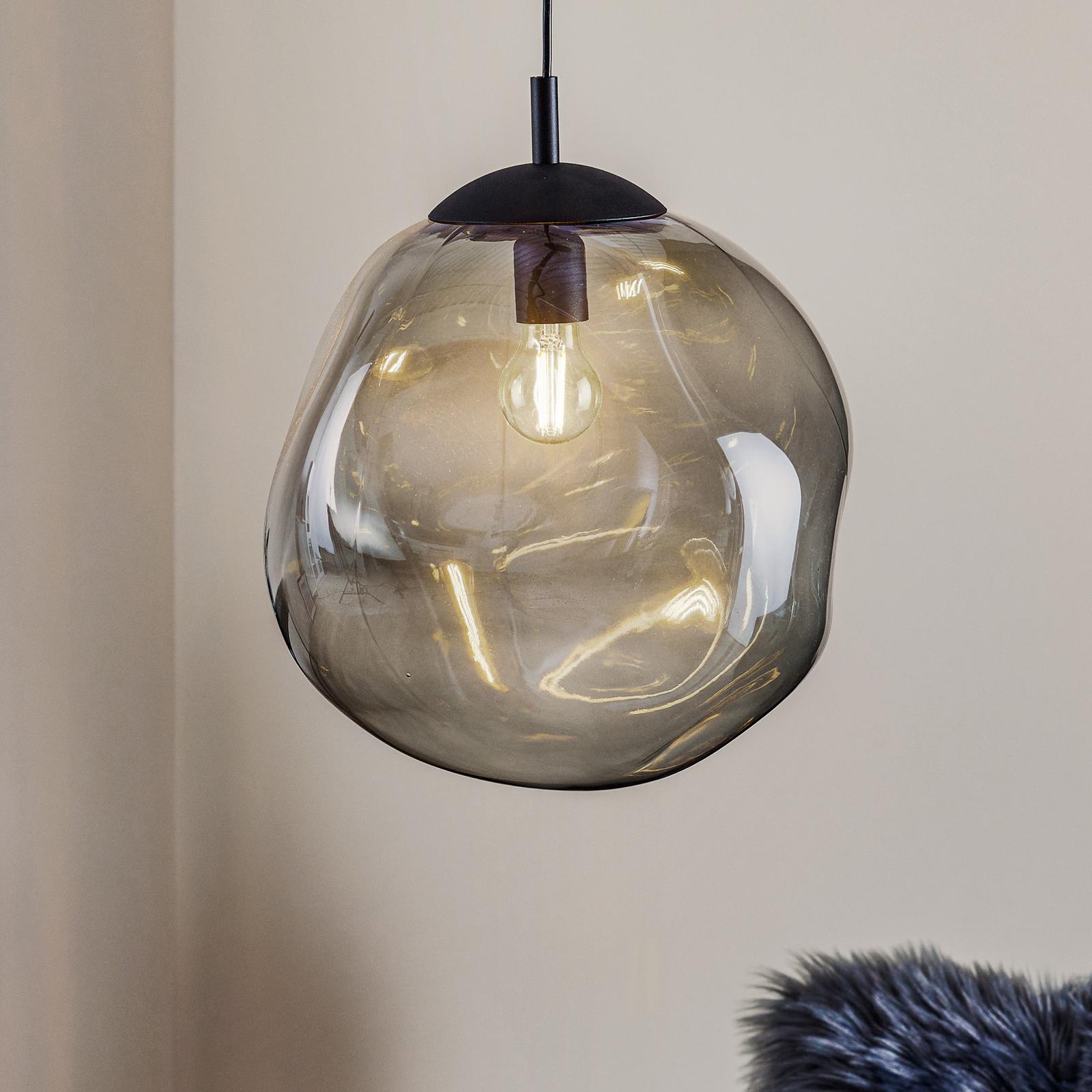 Sol hængelampe af glas, sort, grafit