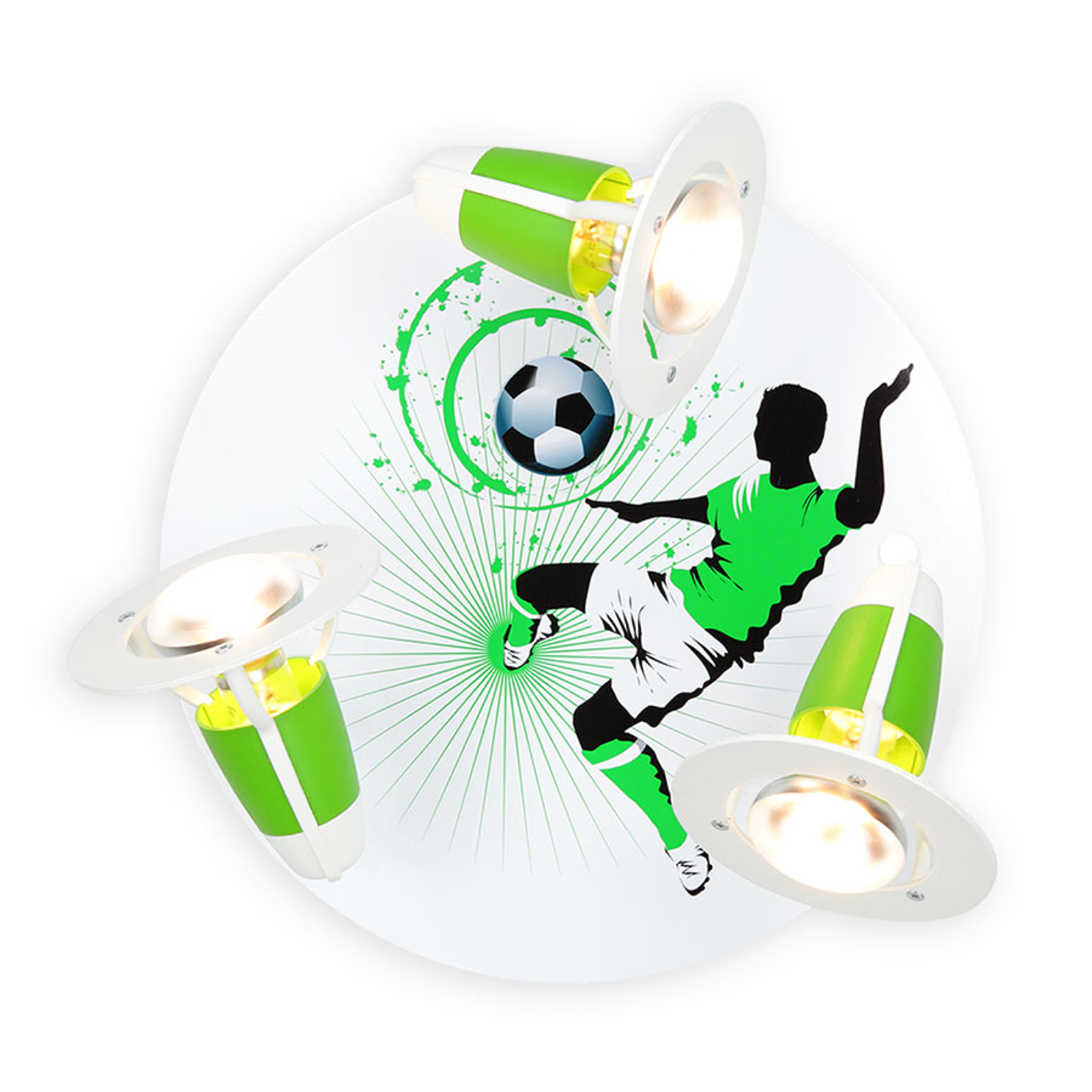 Lampa sufitowa Soccer, 3-punktowa, zielono-biała