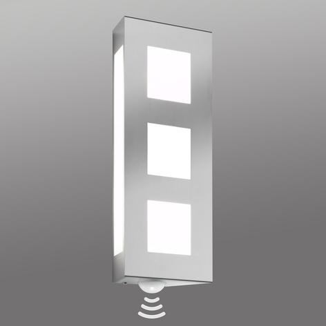 Außenwandlampe Trilo aus Edelstahl mit Sensor