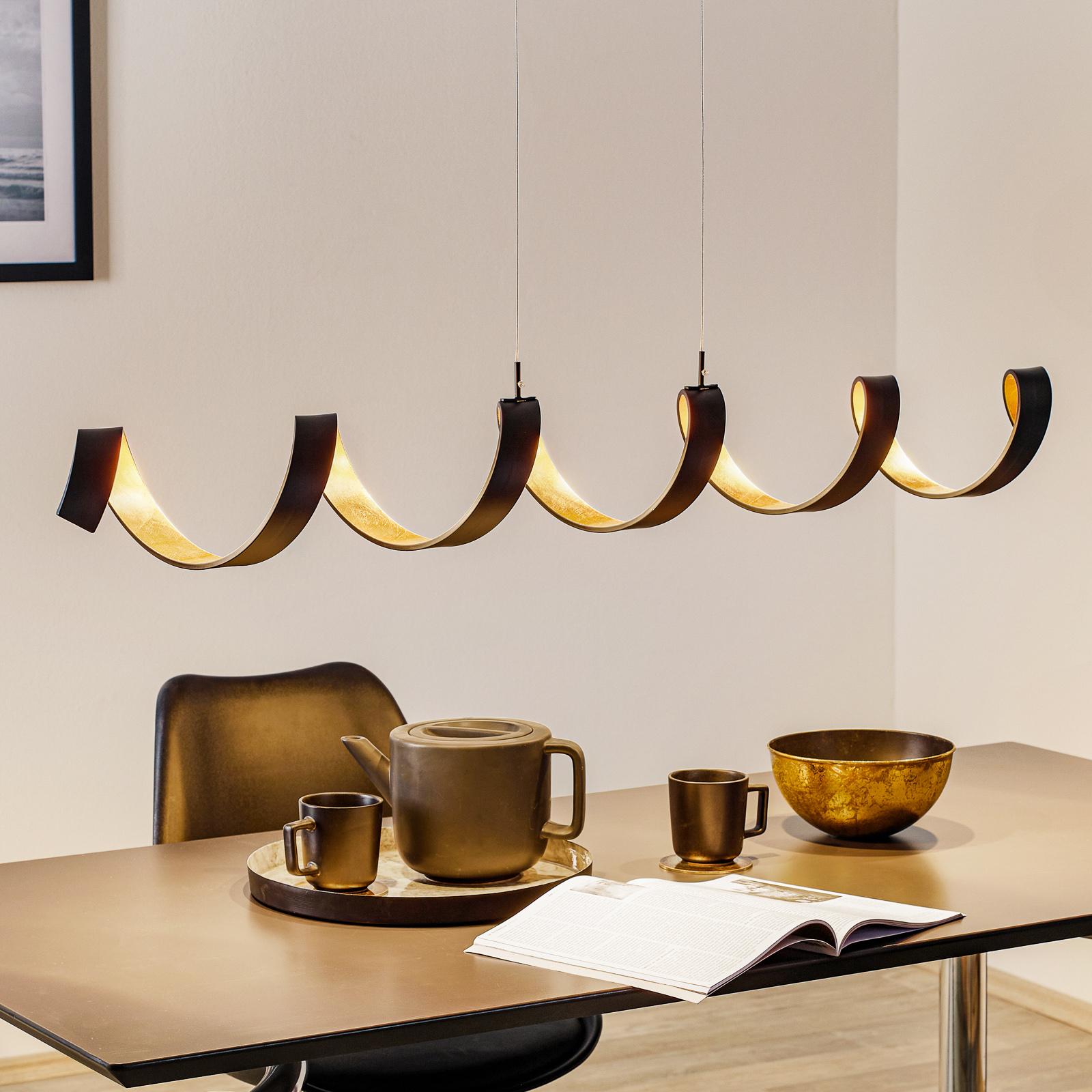 LED-hengelampe Helix, svart-gull, 125 cm