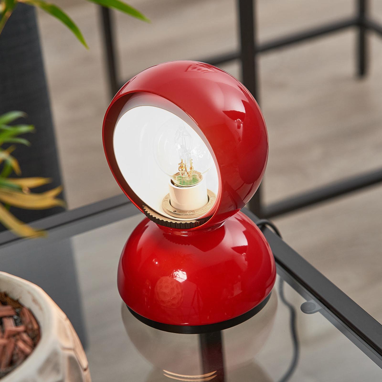 Rød design-bordlampe Eclisse