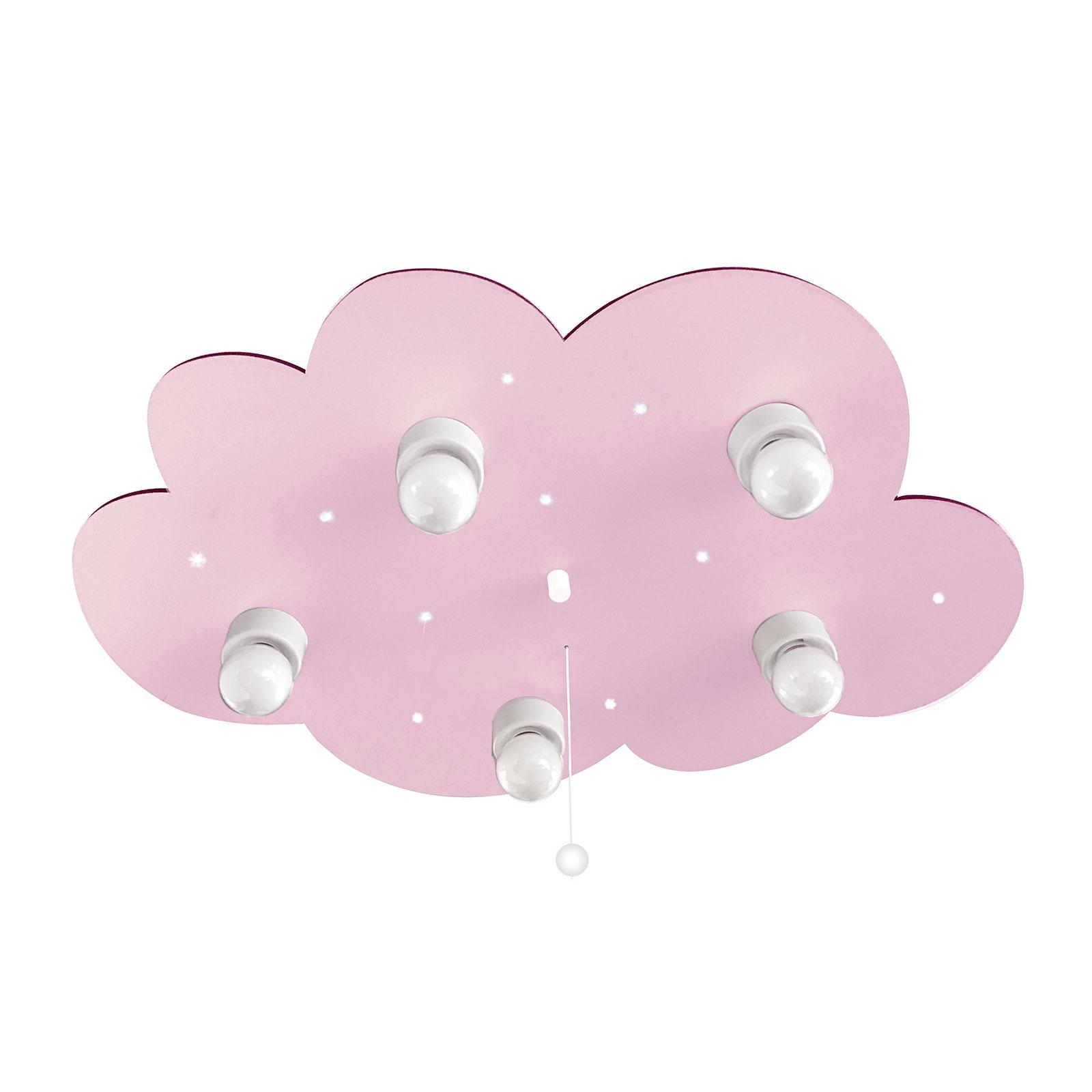 Deckenleuchte Wolke, fünfflammig, rosa