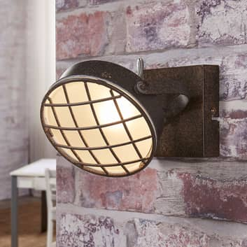 Rustfarget LED-vegglampe Tamin, industriell