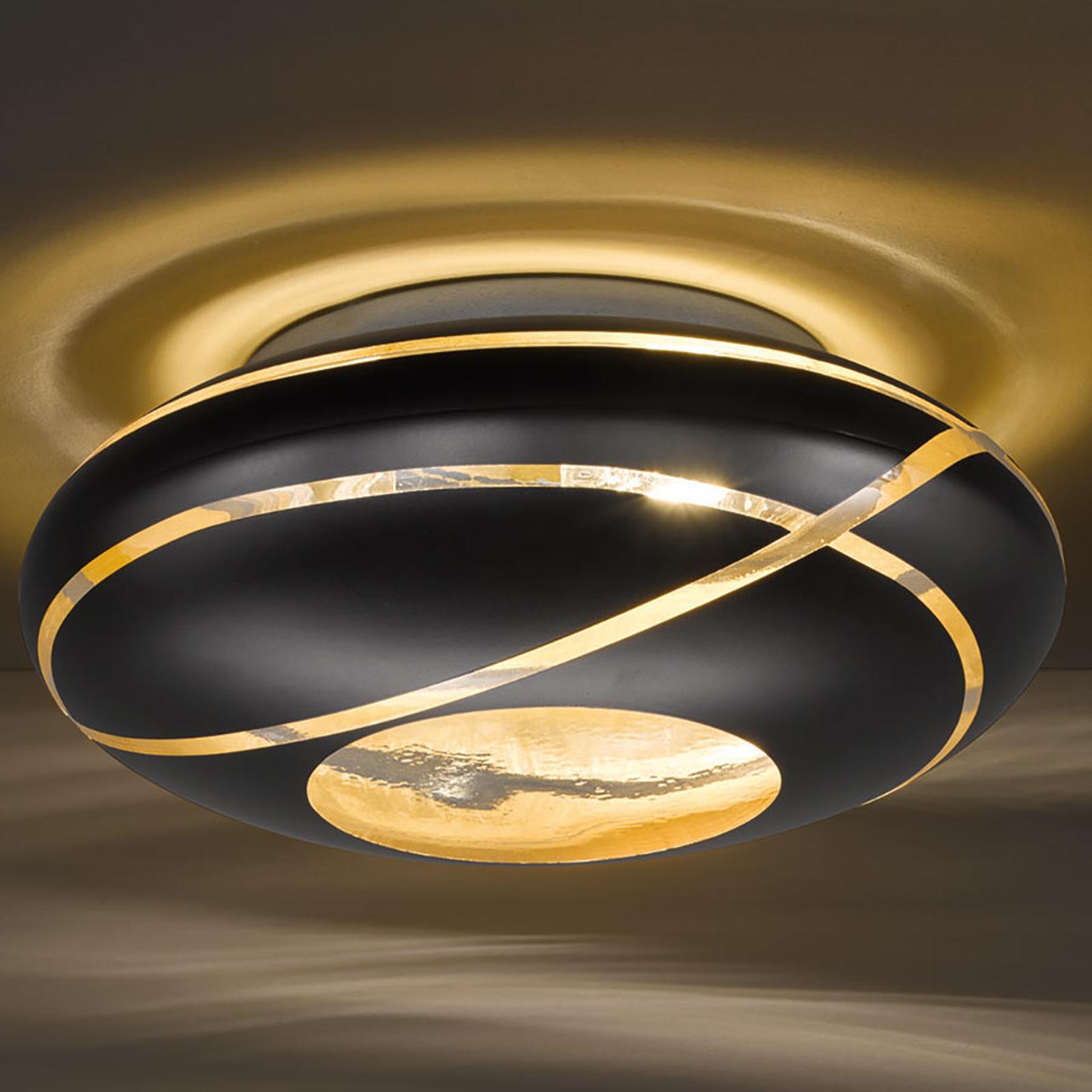 Glazen plafondlamp Farona in mat zwart en goud