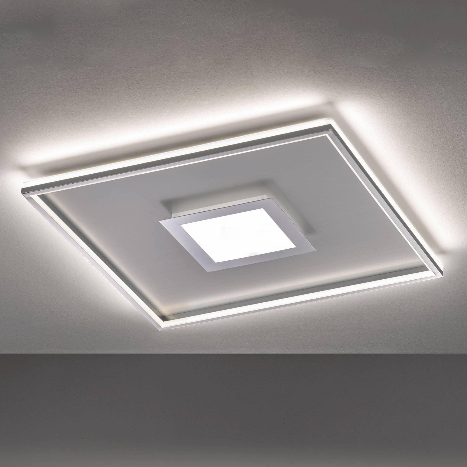 LED plafondlamp Zoe, quadratisch, chroom 80x80cm