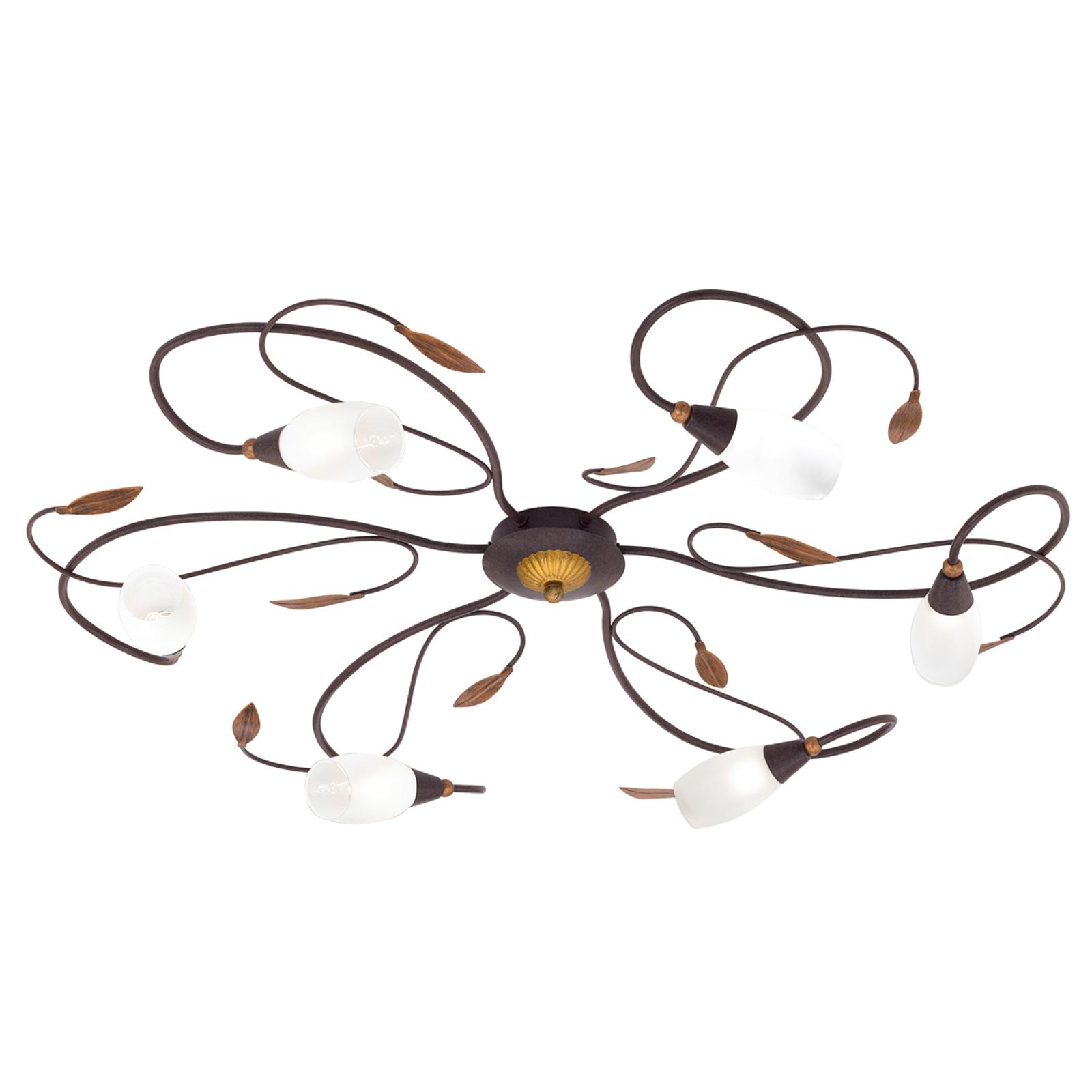 Lekfull plafondlampa Gerbera, sexdelad