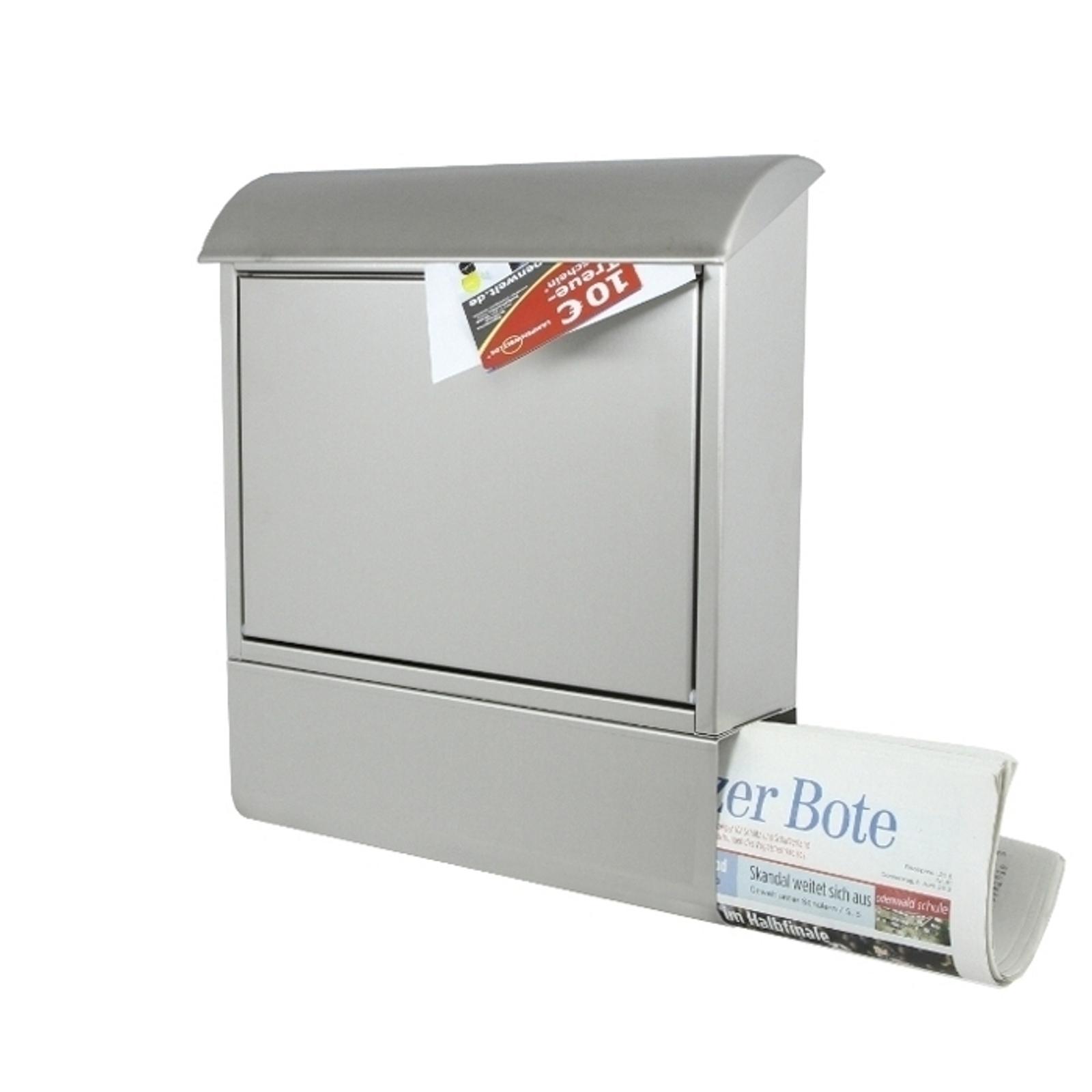 Tilbud på postkasse i rustfrit stål med avisrør!