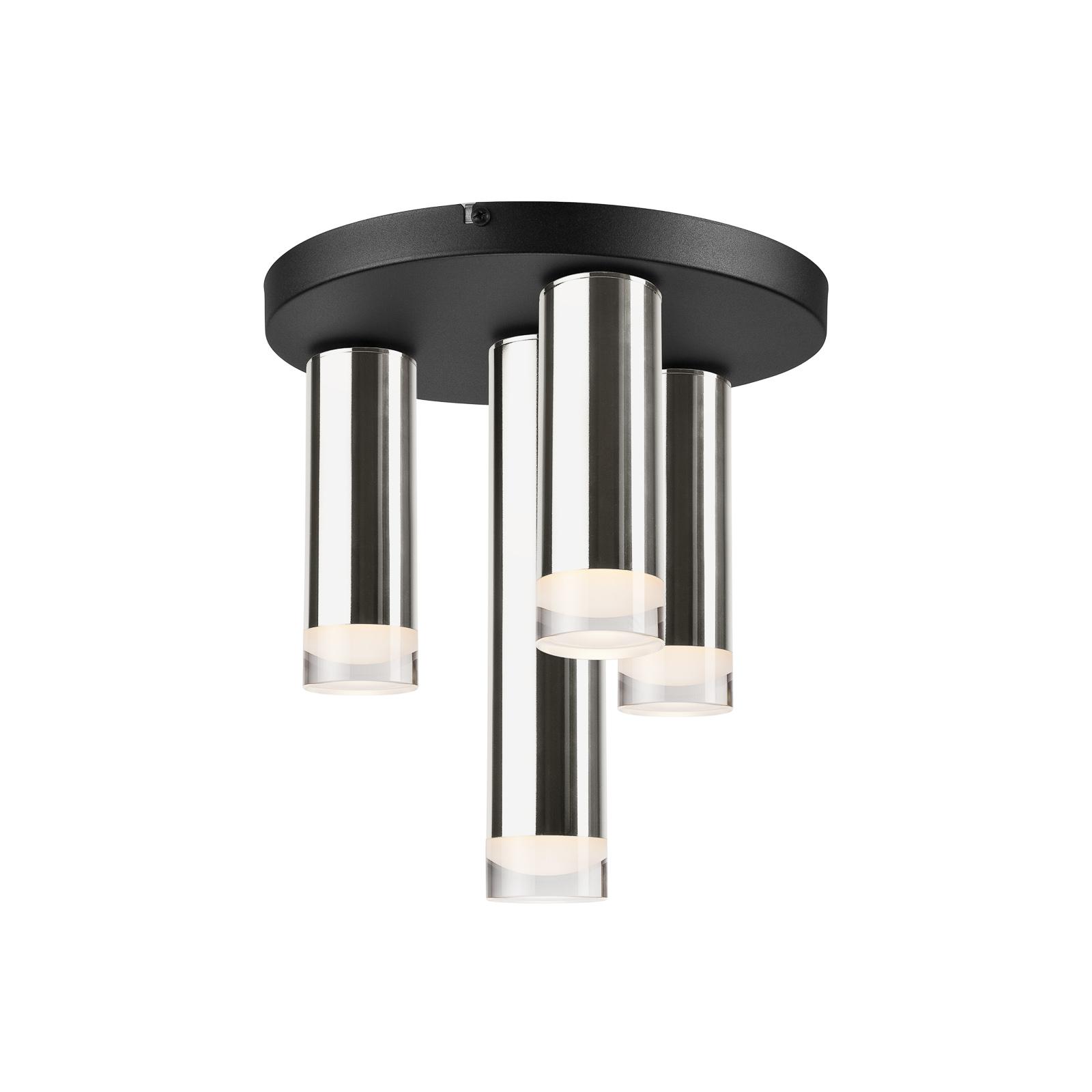 Taklampe Shine, 4 lyskilder, rund, krom