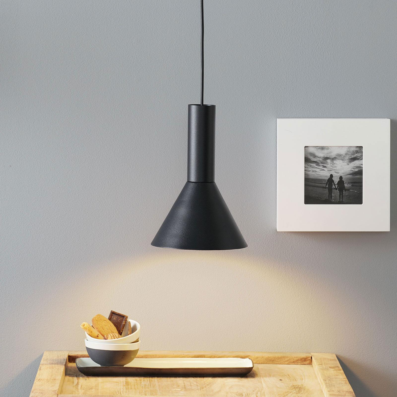 Lucande Caris pendellampe Ø 19 cm sort/hvid