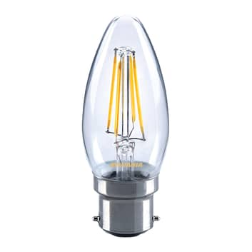 Bombilla LED forma vela B22 4W 827, transp.