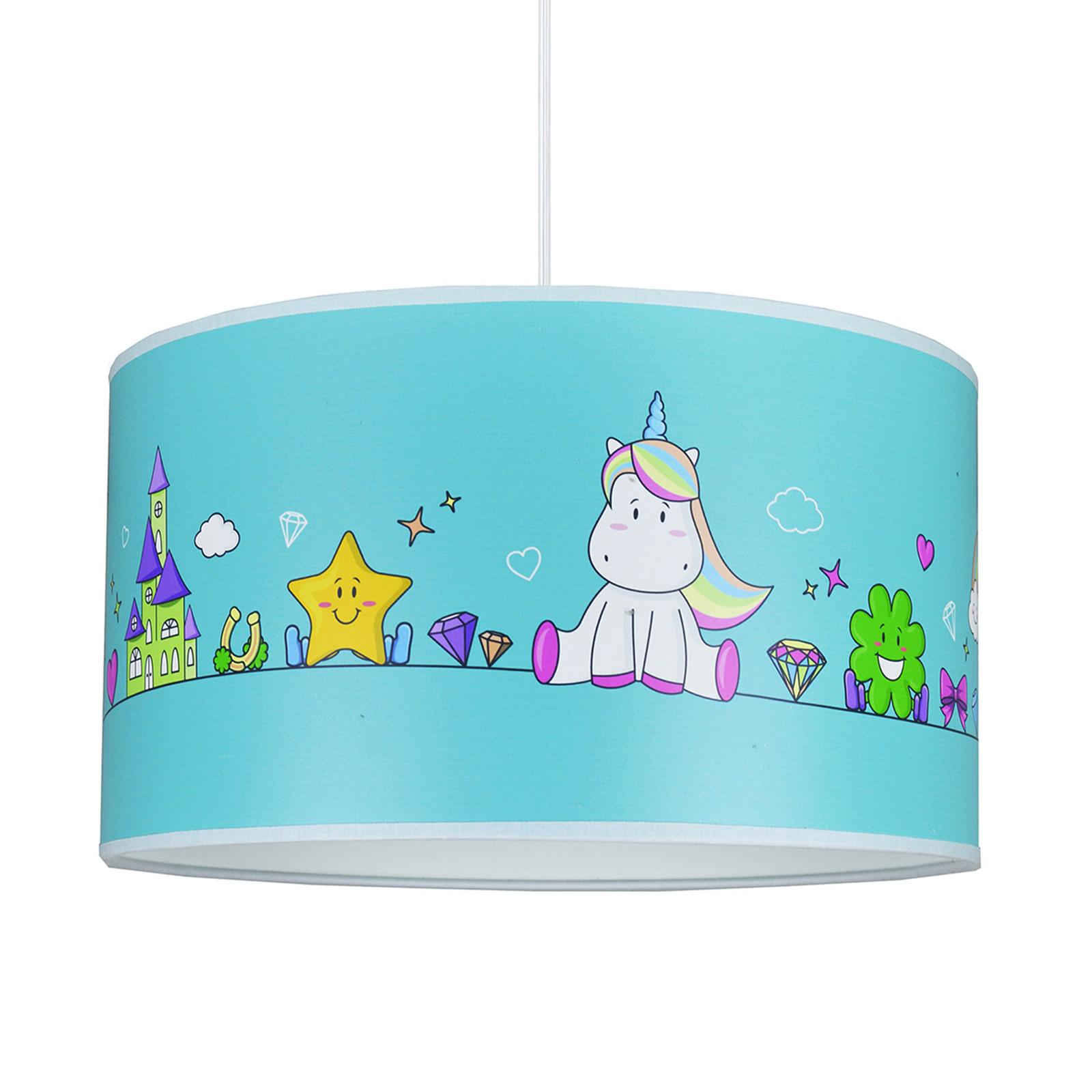Hengelampe Unicorn, blå med motiver
