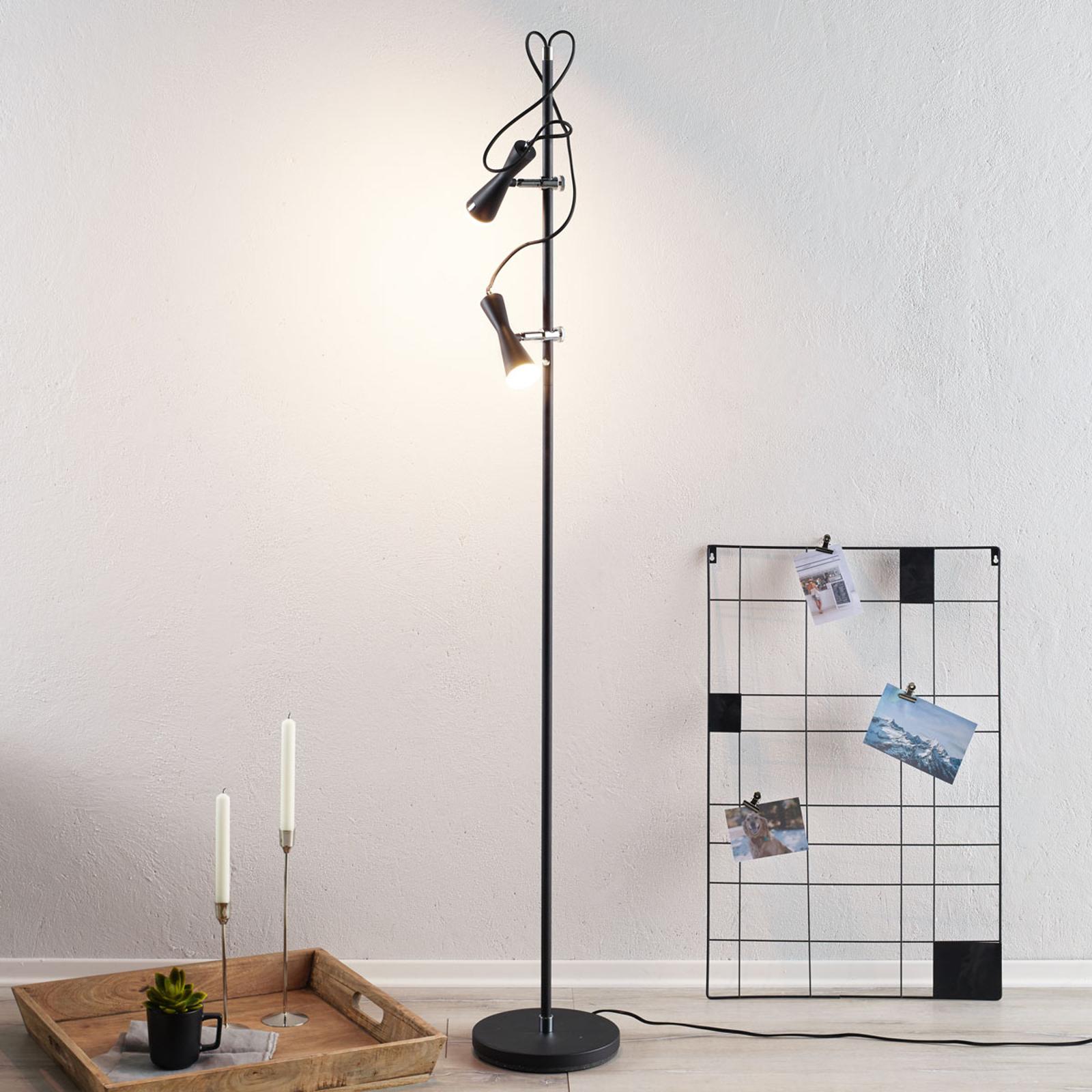 Lampadaire LED Move sophistiqué, 2lampes, noir
