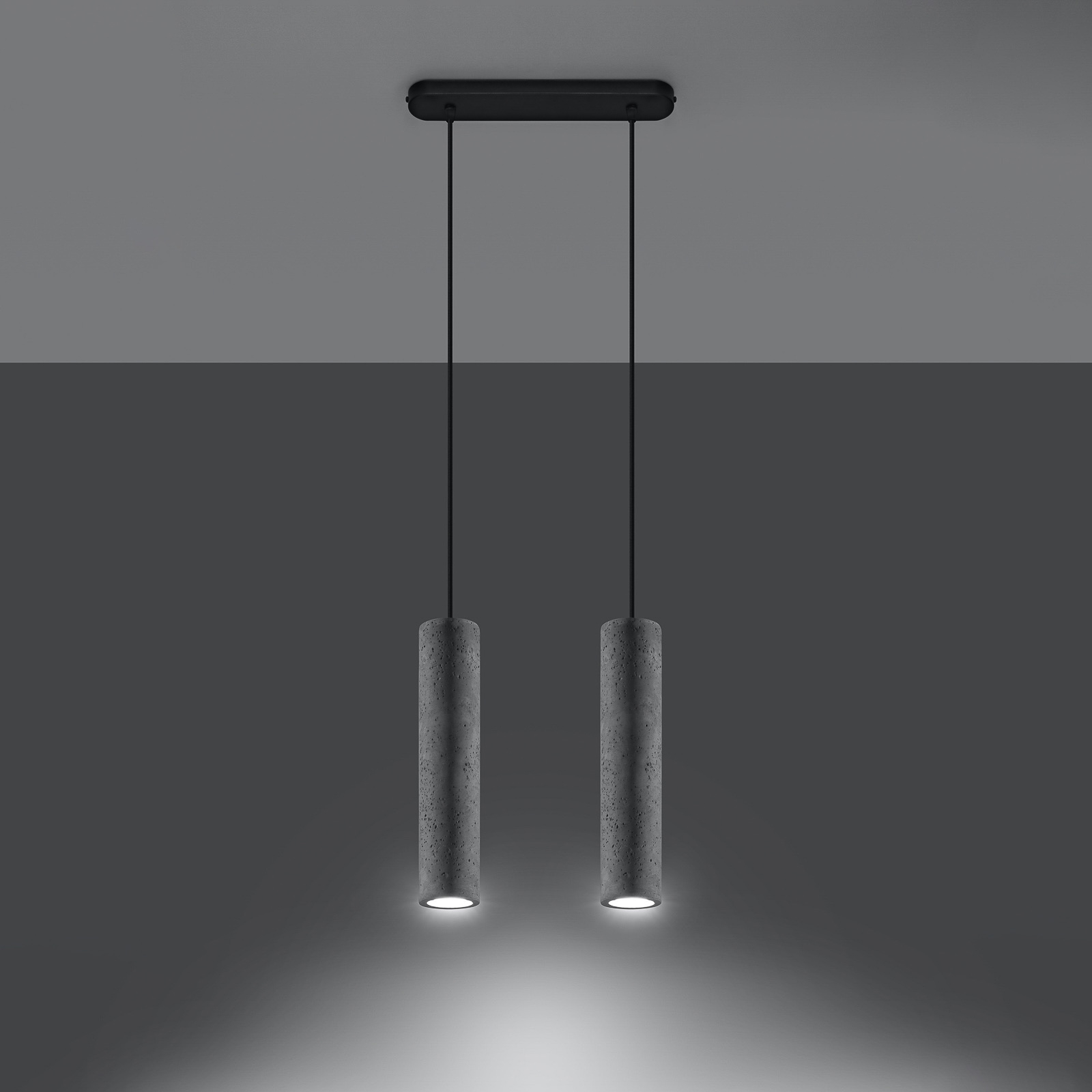 Lampa wisząca Tube z betonu, 2-punktowa