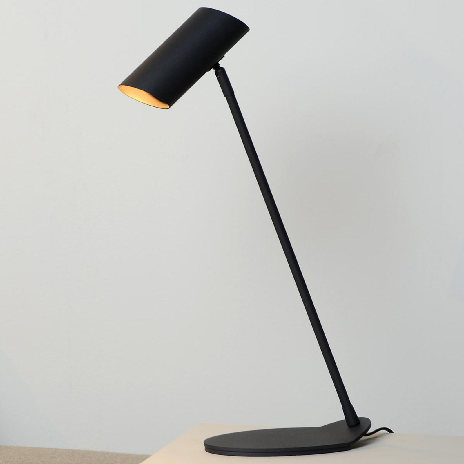 Wyrafinowana lampa biurkowa Hester, czarna
