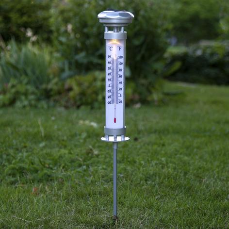 LED lamp op zonne-en Celsius, buitenthermometer