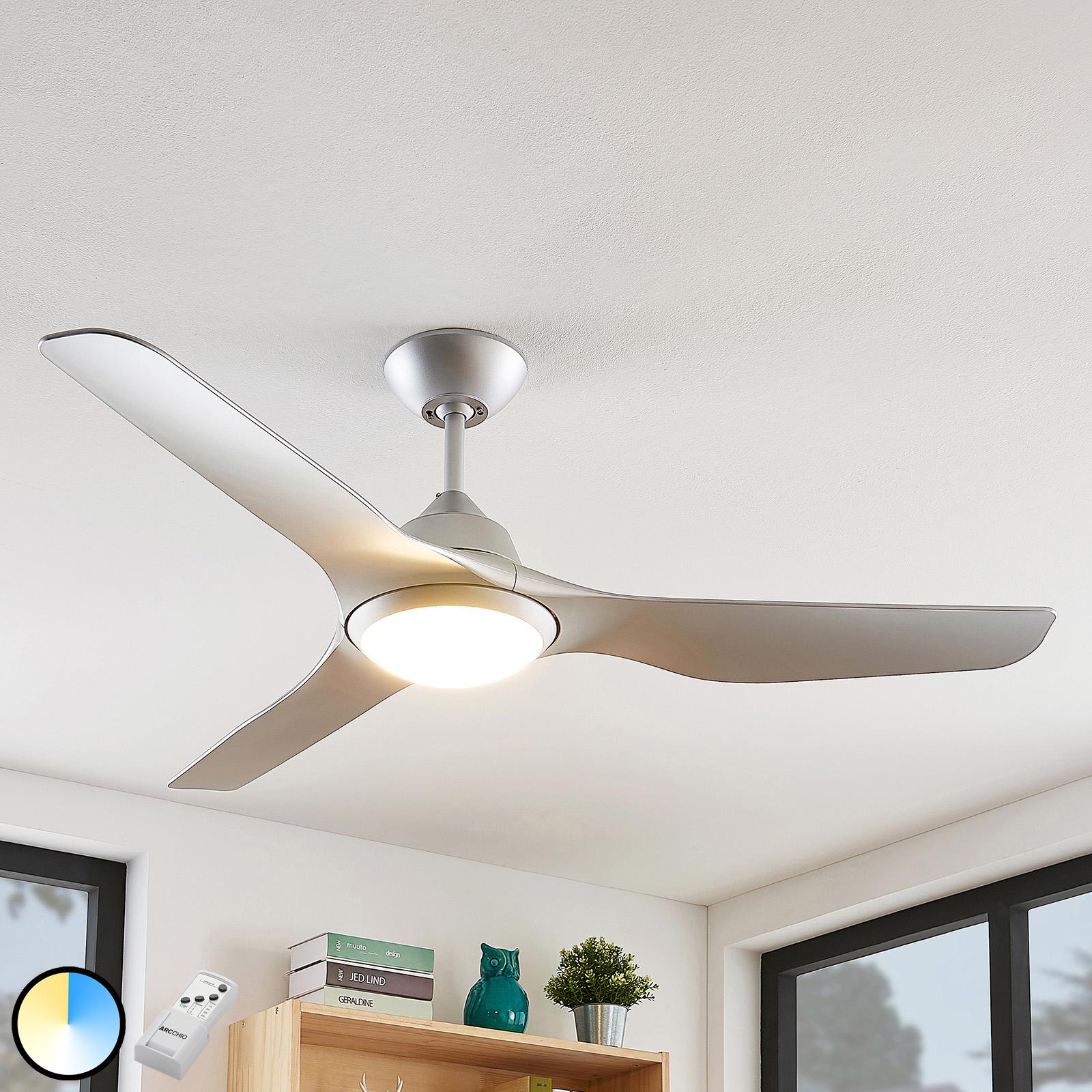 Arcchio Pira LED -kattotuuletin, 3 siipeä, hopea