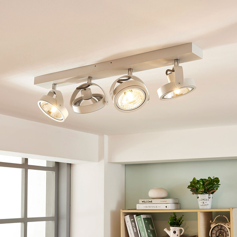 Podlouhlá stropní LED lampa Lieven, 4bodová bílá