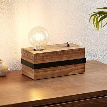 Lindby Sverina lampa stołowa z drewna, 1-punktowa