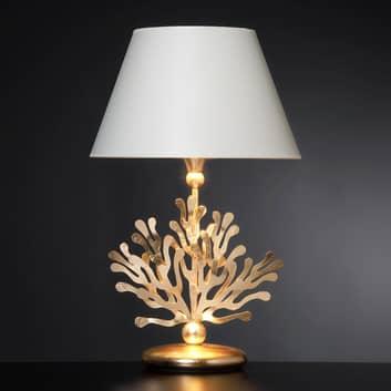 Textil-bordslampa Coral med bladguld