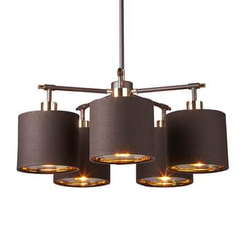 Lámpara colgante Balance latón-marrón, 5 luces