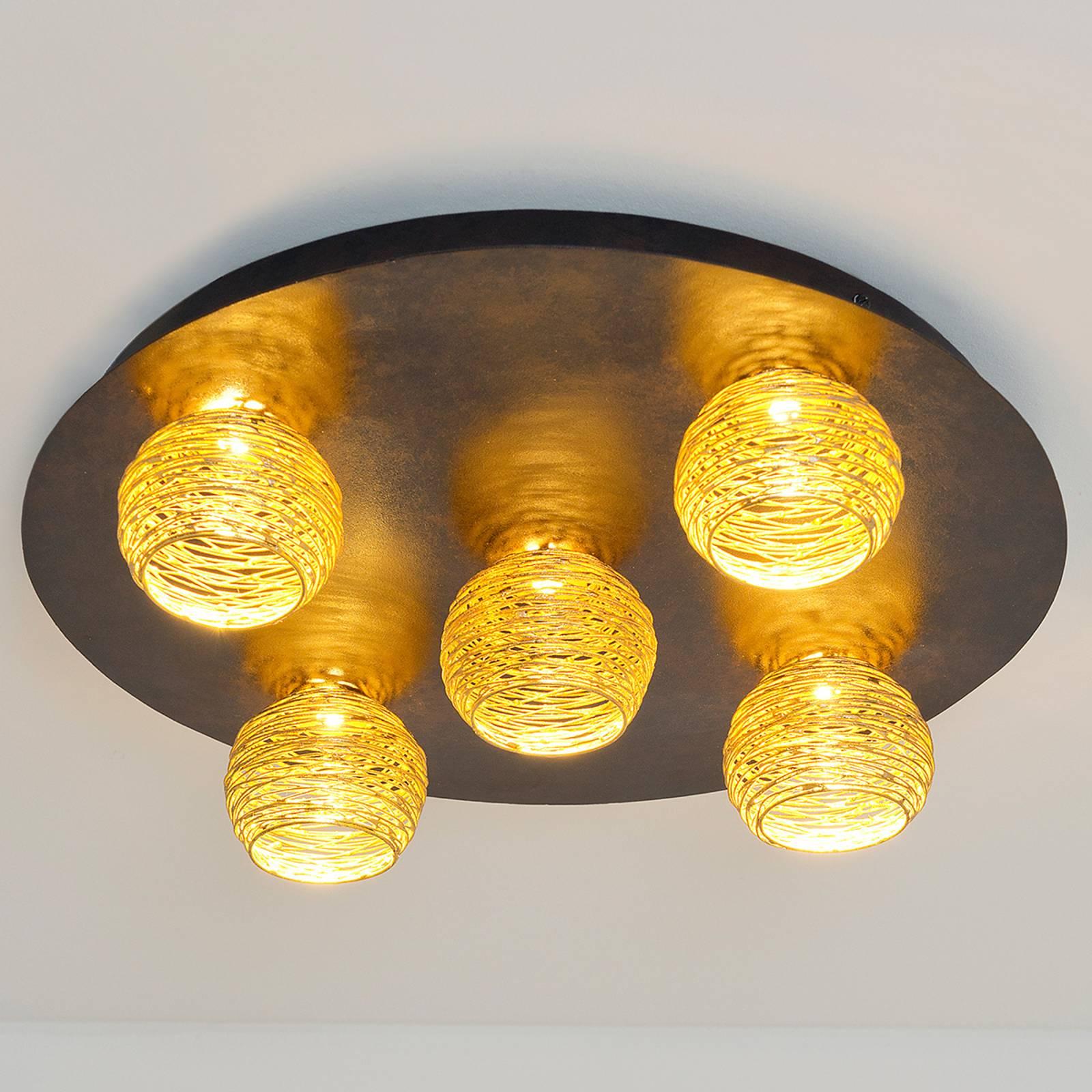 Plafondlamp Carillon met gouden kappen