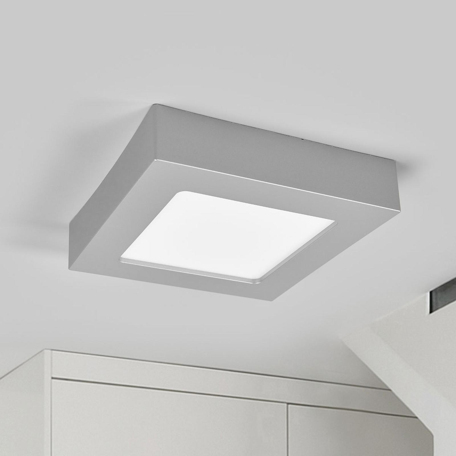 Plafonnier LED Marlo argenté 3000K angulaire 18 cm